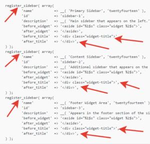 коды в файле функций